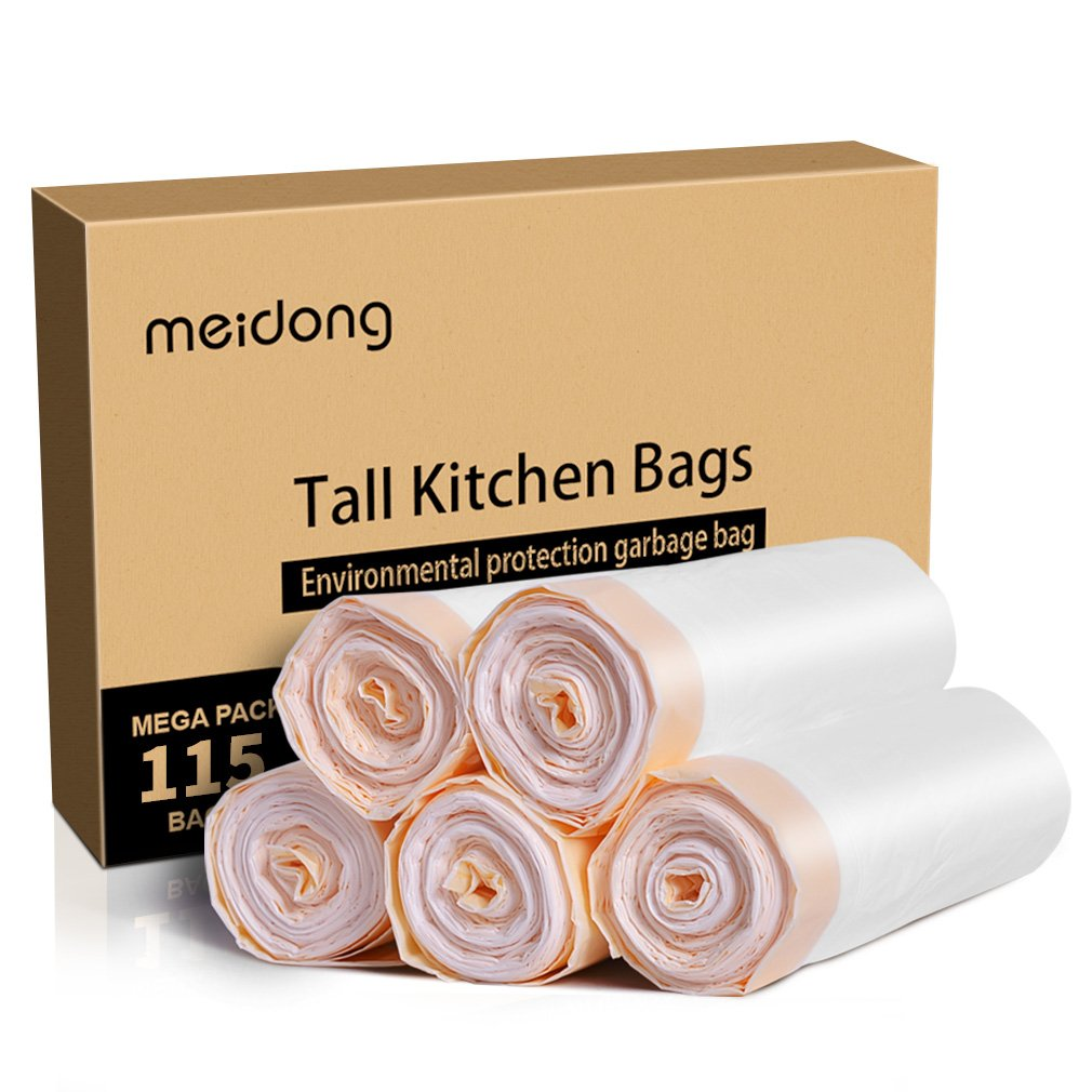 Meidong Garbage Bags 13 Gallon Trash Bags Large Tall Kicthen Drawstring Strong Bags for Living Room Bedroom Bin Can (115 Count)