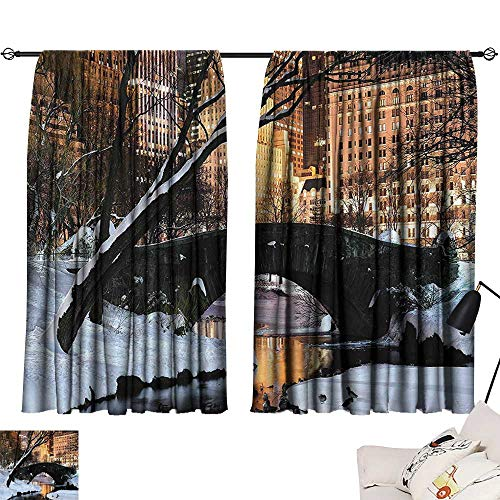 - Anzhutwelve Window Curtains NYC Decor Collection,New York City Manhattan Central Park Lake Bridge in Freezing Winter at Dusk Panorama,Brown Black Whit W63 x L72 Decorative Curtains for Living Room