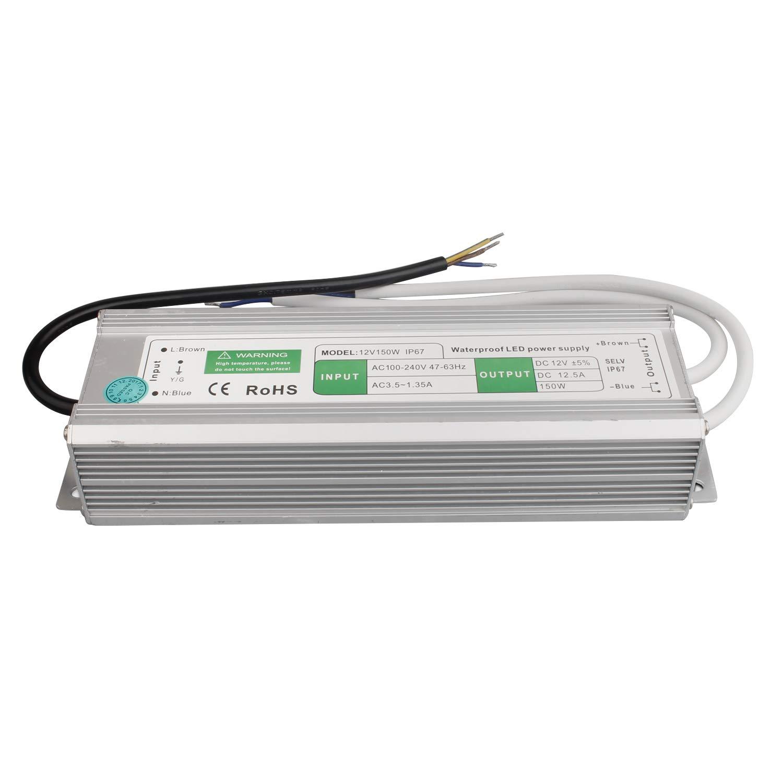Transformateur LED 150W / 12.5A Transformateur. Pilote d'adaptateur d'alimentation pour Bande 230V à 12V DC [Classe énergétique A] [Classe énergétique A] BAODE