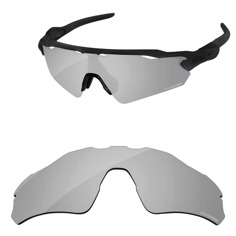 d5afa8836cbe1 Amazon.com  PapaViva Lenses Replacement for Oakley Radar EV Path Black Grey    Chrome Silver   Bluish Green  Clothing