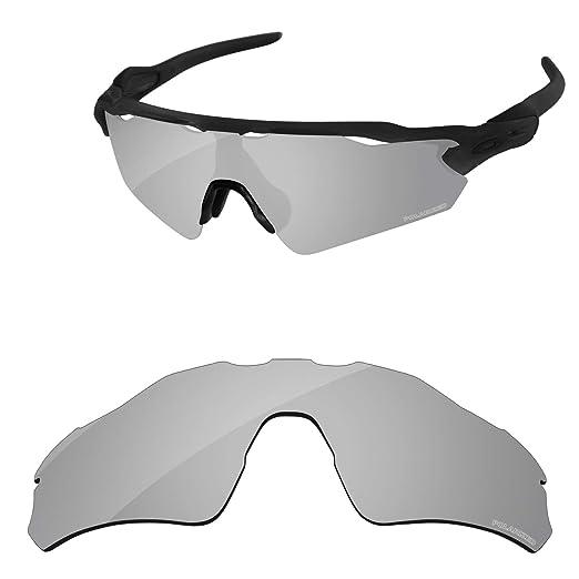 785b6a9b571 Amazon.com  PapaViva Lenses Replacement for Oakley Radar EV Path Black Grey    Chrome Silver   Bluish Green  Clothing