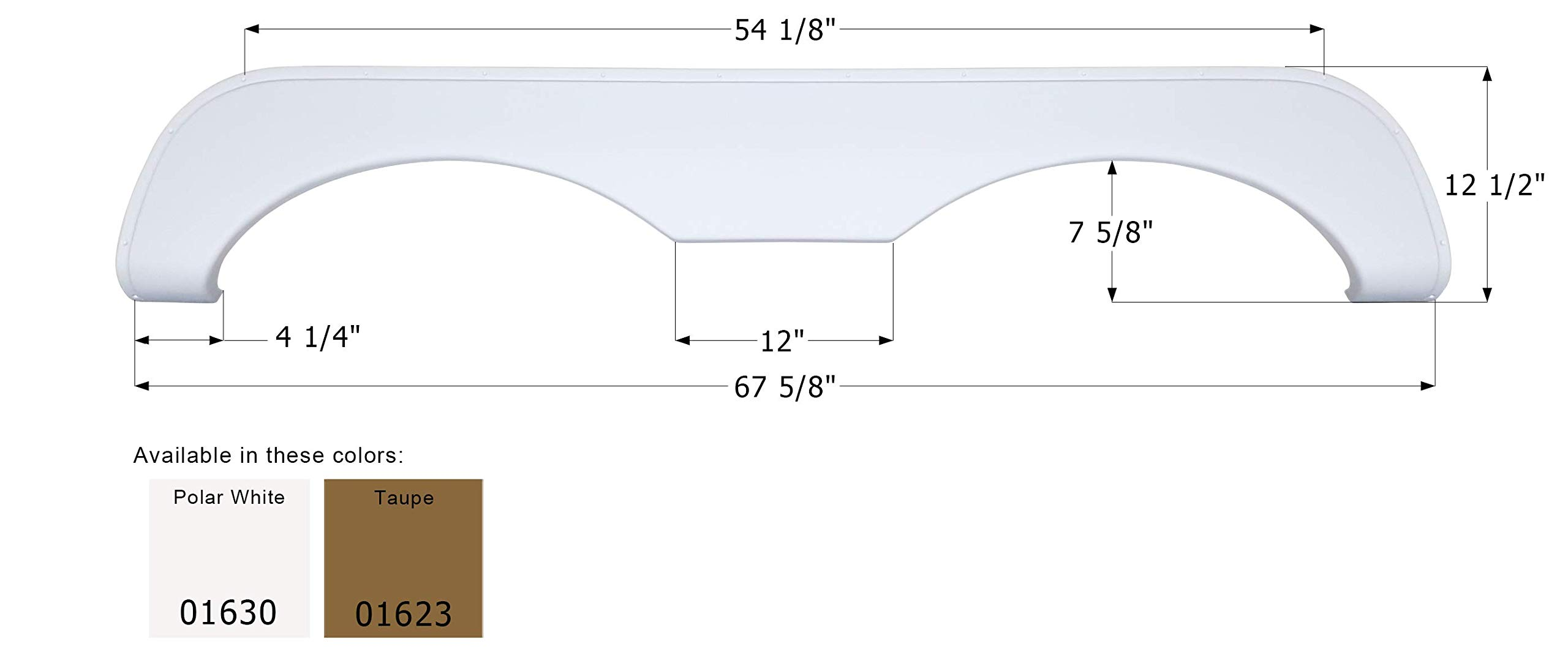 ICON 01630 Tandem Axle Fender Skirt for McKenzie-Polar White by ICON