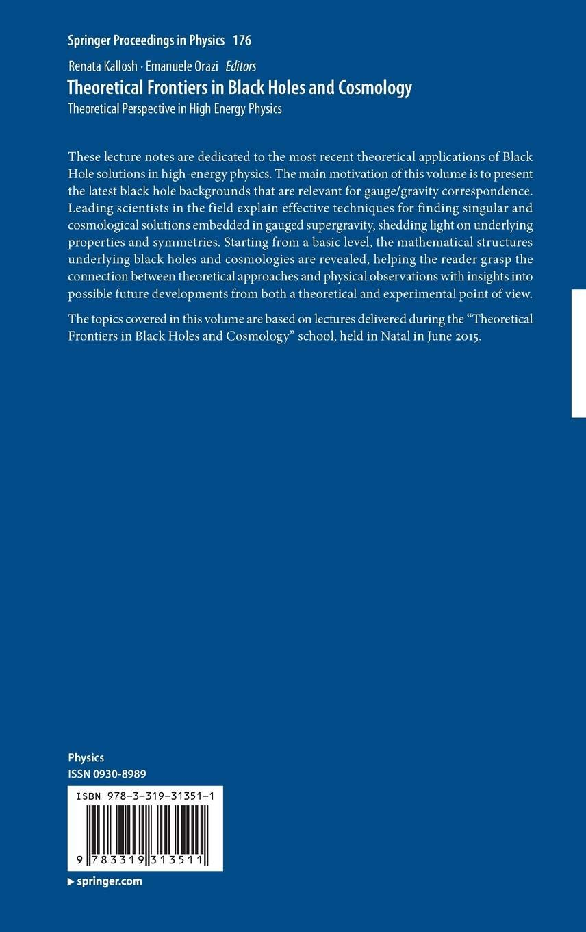 Theoretical Frontiers in Black Holes and Cosmology: Theoretical Perspective in High Energy Physics