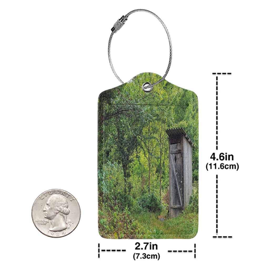 Modern luggage tag Outhouse Old Ancient Cottage Outhouse in a Spring Mountian Forest Woods Image Suitable for children and adults Fern Green and Brown W2.7 x L4.6