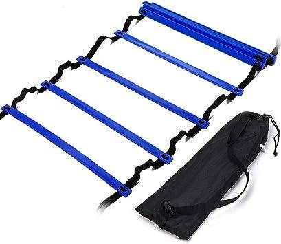 FJYOURIA Escalera de Agilidad, Escalera de Entrenamiento Ajustable de 6 m con 12 peldaños y Bolsa de Transporte Gratuita (Azul): Amazon.es: Deportes y aire libre