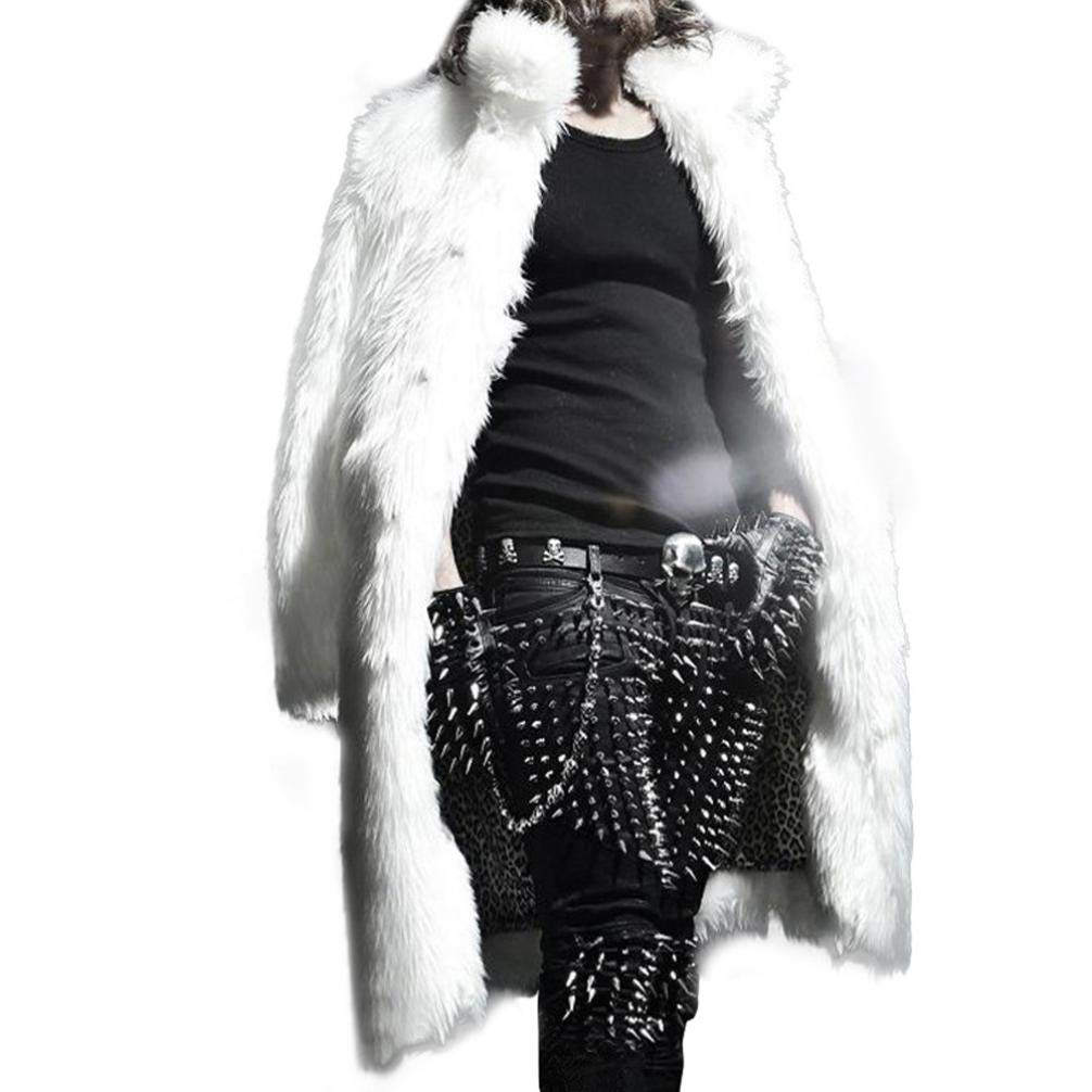 HTHJSCO Mens Faux Fur Coat Thicker Long Jacket Warm Overcoat Outwear Cardigan (White, S)