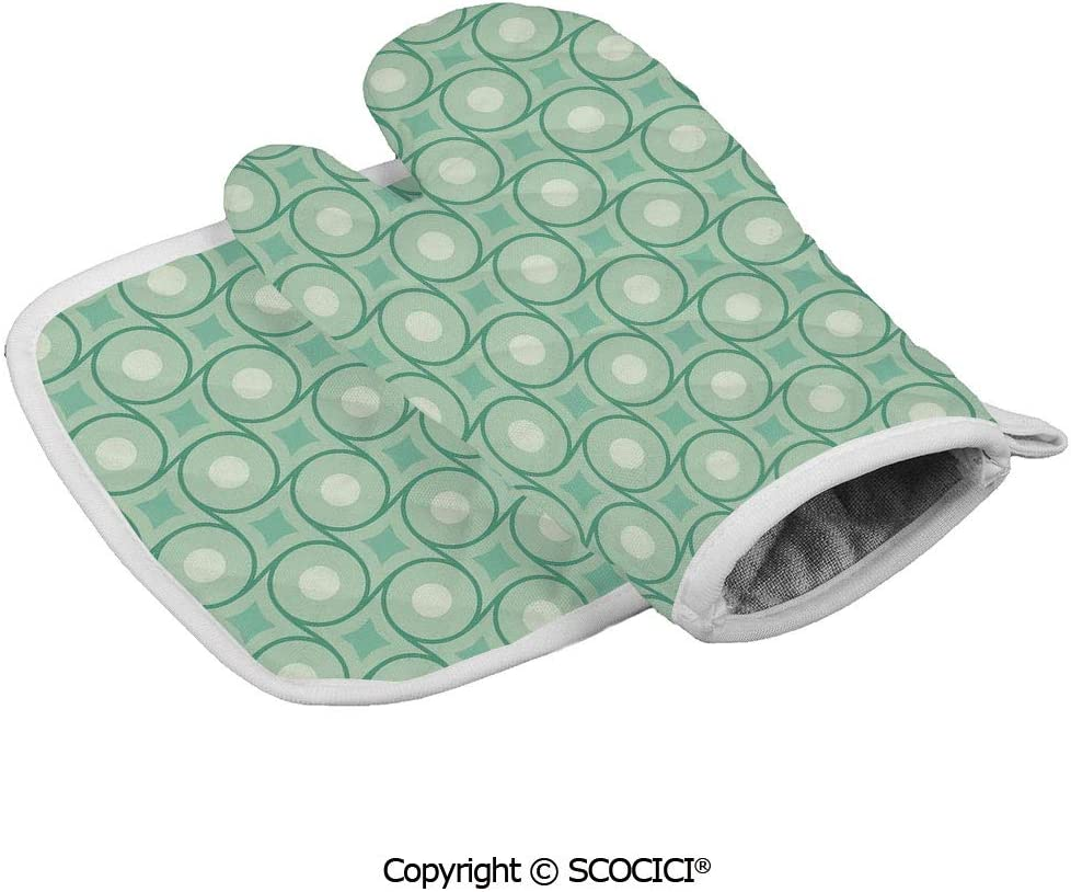 SCOCICI Oven Mitts,Professional Heat Resistant Circles and Dots Linked with Lines Wavy Squares Geometric Retro Non-Slip Kitchen Oven Glove for Cooking,Baking,Barbecue Potholders