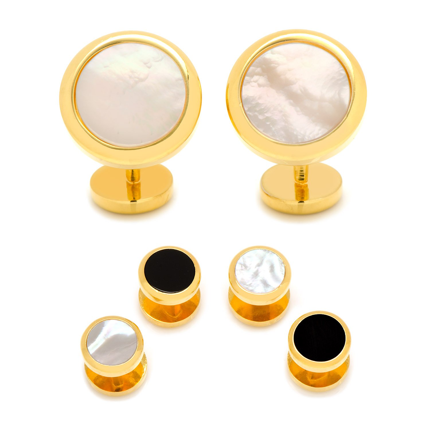CUFFLINKS INC Double Sided Gold-Tone Mother of Pearl Round Beveled Stud Set (White)