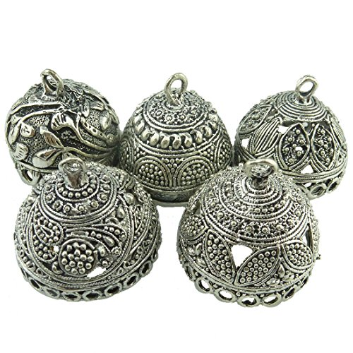5pcs Mix Vintage Round Flower Leaves Beads Cap Tassels End Filigree Pendant Charm - Cap Only Antique