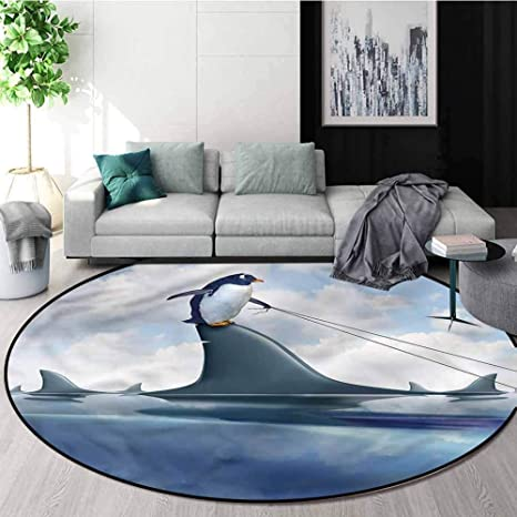 Rugsmat Shark Rug Round Home Decor Area Rugs Penguin Holding Wild Fish Non Slip Soft Floor Mat Home Decor Diameter 55 Home Kitchen