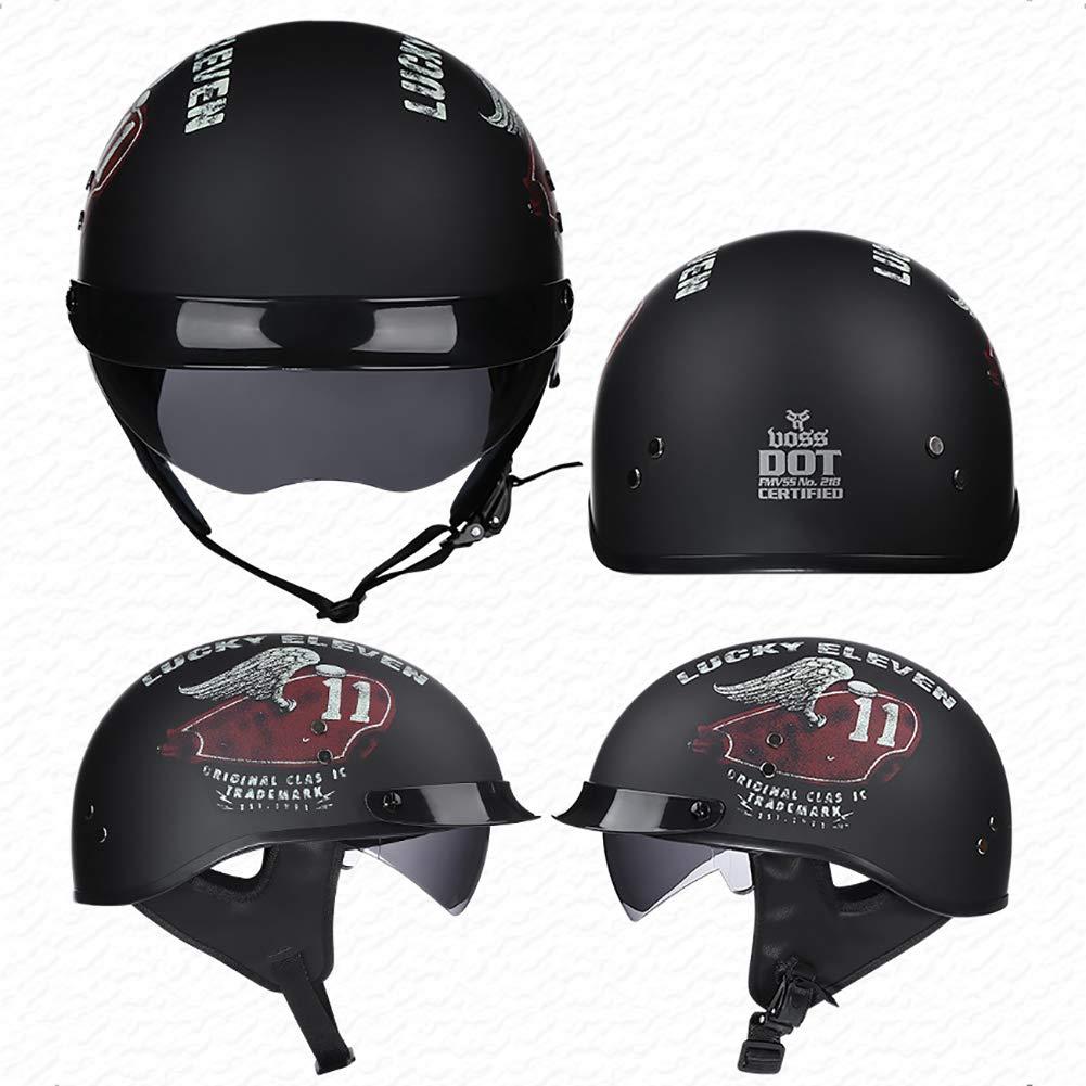 TKer Motorcycle Open Face Helmet, Jet Helmet with Goggles Sun Visor Breathable for Adults Men & Women Baseball Helmet Scooter Helmet Half Helmet DOT Approved,XL by TKer