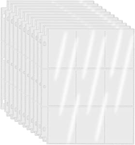9-Pocket Pages Protectors Trading Card Sleeves Pages for 3 Ring Binder Card Sheet Protectors for Baseball Cards, Football Cards, Pokemon Trading Cards, Sport Cards, Game Cards, Business Cards 50 Pages