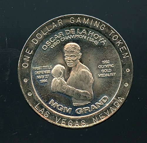 $1 MGM Grand Limited Slot Token Oscar De La Hoya 1st Title Defence May 27 1994 / 1992 Olympic Gold Medalist Uncirculated Slot Token Coin from MGM Grand Las Vegas NV. 1994 Limited issue Scarce