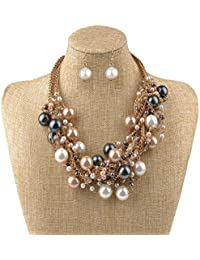 Fashion Charm Jewelry Pendant Faux Pearl Choker Chunky Statement bib Necklace and Earrings Set