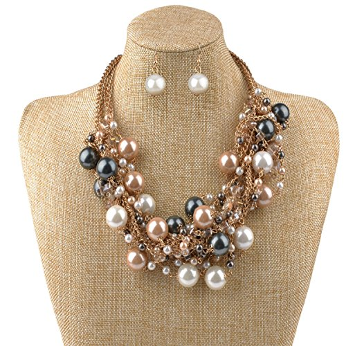 IPINK Fashion Charm Jewelry Pendant Faux Pearl Choker Chunky Statement bib Necklace and Earrings (Pearl Jewelry)