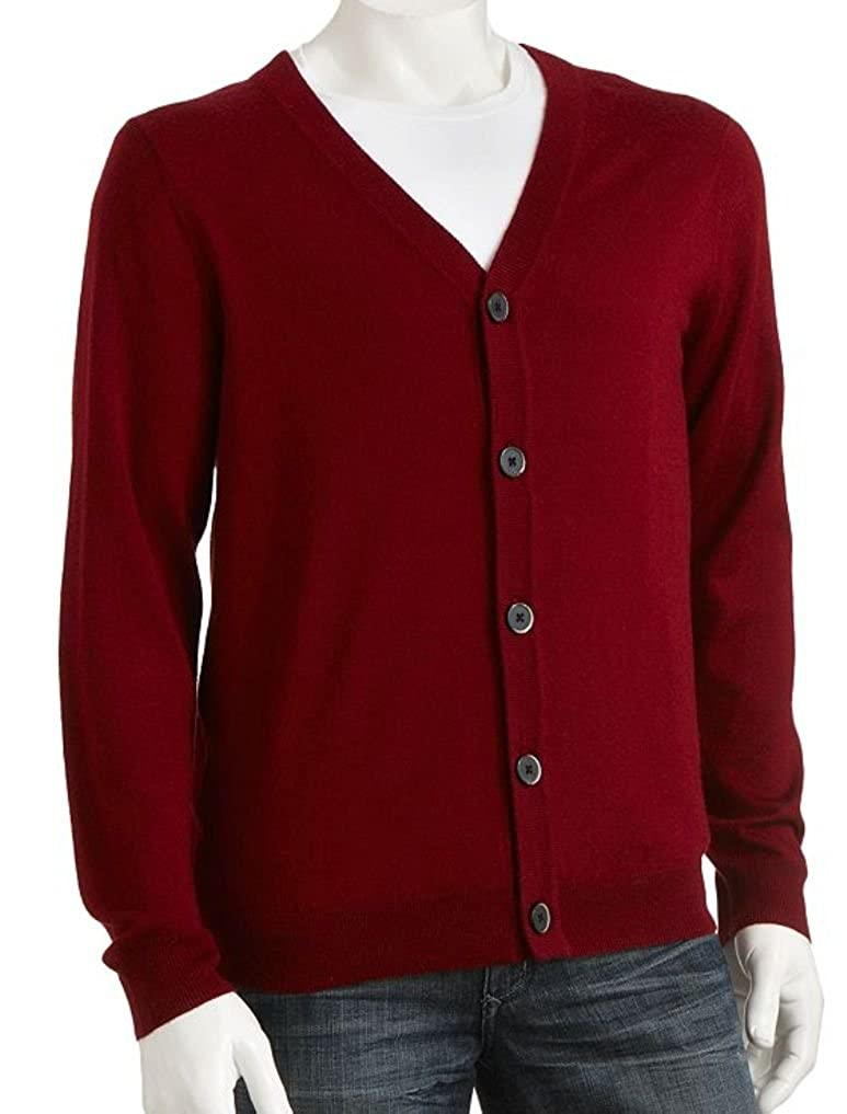 Liz Claiborne Apt 9 Mens Cardigan Sweater Merino Wool Blend Big & Tall Red