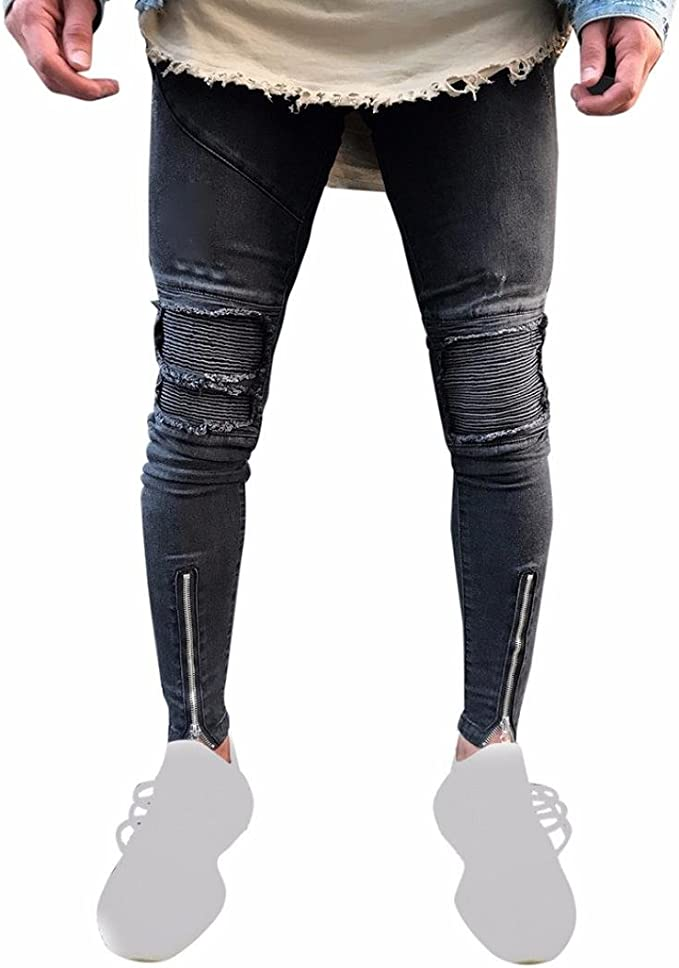 iMakcc Men Stretchy Ripped Skinny Feet Biker Jeans Destroyed Taped Slim Fit Denim Pant