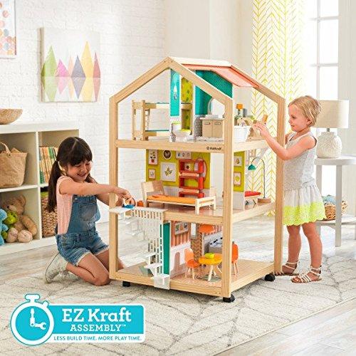 61Siy0un7XL - KidKraft So Chic Dollhouse with Furniture