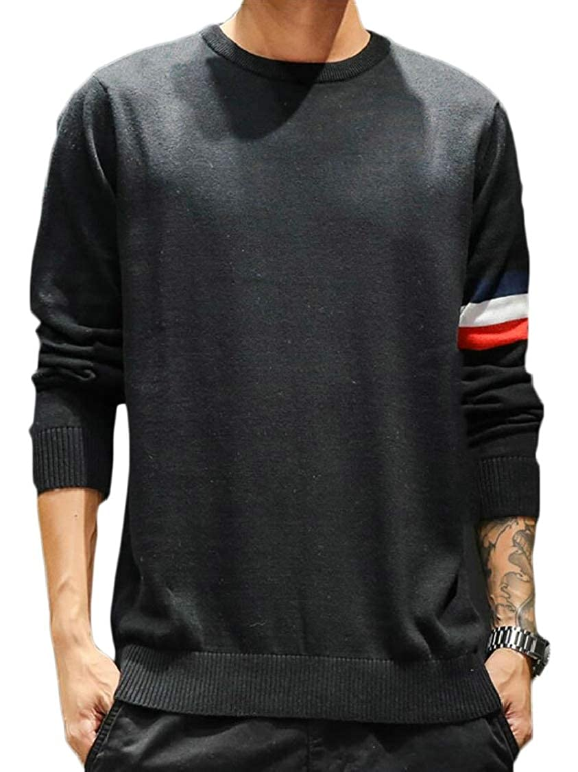 XQS Mens Warm Leisure Round Neck Knitted Color Contrast Slim Fit Pullover Sweaters