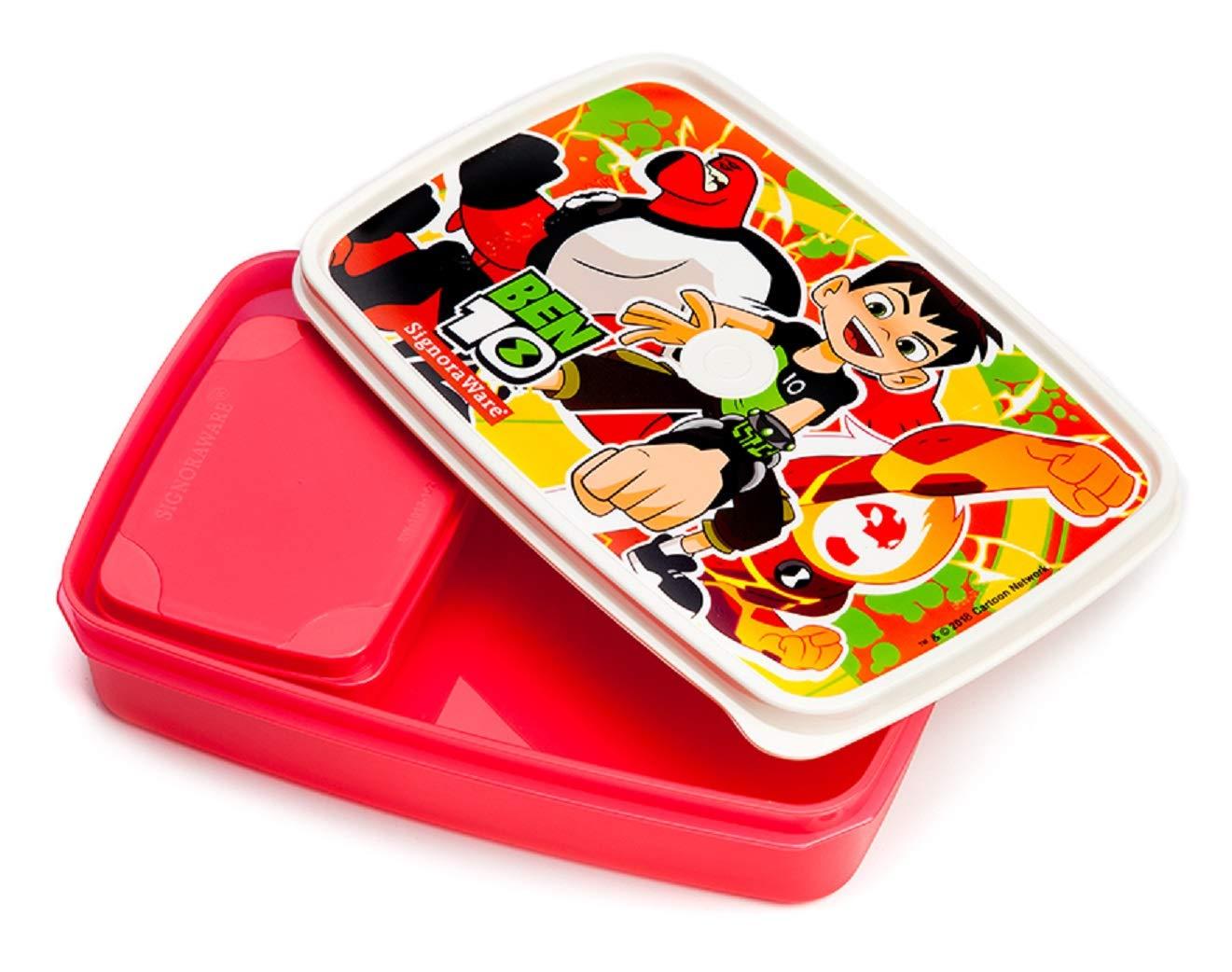 Signoraware Easy Lunch Box (Ben10 Orange), 150ml+850ml, Set of 2, Red