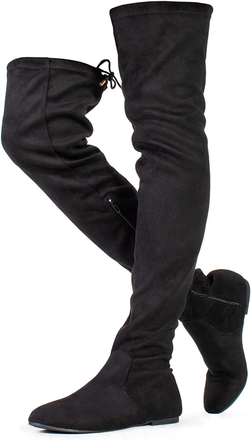 RF ROOM OF FASHION TrendHI-41 Women Fashion Comfy Vegan Suede Side Zipper Over The Knee Boots