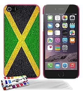 """Carcasa Rigida Ultra-Slim APPLE IPHONE 5S / IPHONE SE de exclusivo motivo [Jamaica Bandera ] [Rosa caramelo] de MUZZANO  + 3 Pelliculas de Pantalla """"UltraClear"""" + ESTILETE y PAÑO MUZZANO REGALADOS - La Protección Antigolpes ULTIMA, ELEGANTE Y DURADERA para su APPLE IPHONE 5S / IPHONE SE"""