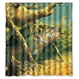 Bass Fishing Shower Curtain Shower Curtain Large Mouth Bass Colorful Catfish Jumping Out Of The Sea/Bass Fishing Waterproof Bathroom Curtain With Hooks 66