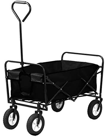 Oypla Black Heavy Duty Foldable Garden Trolley Folding Cart Wagon Truck  Wheelbarrow dc6b5e0b40752