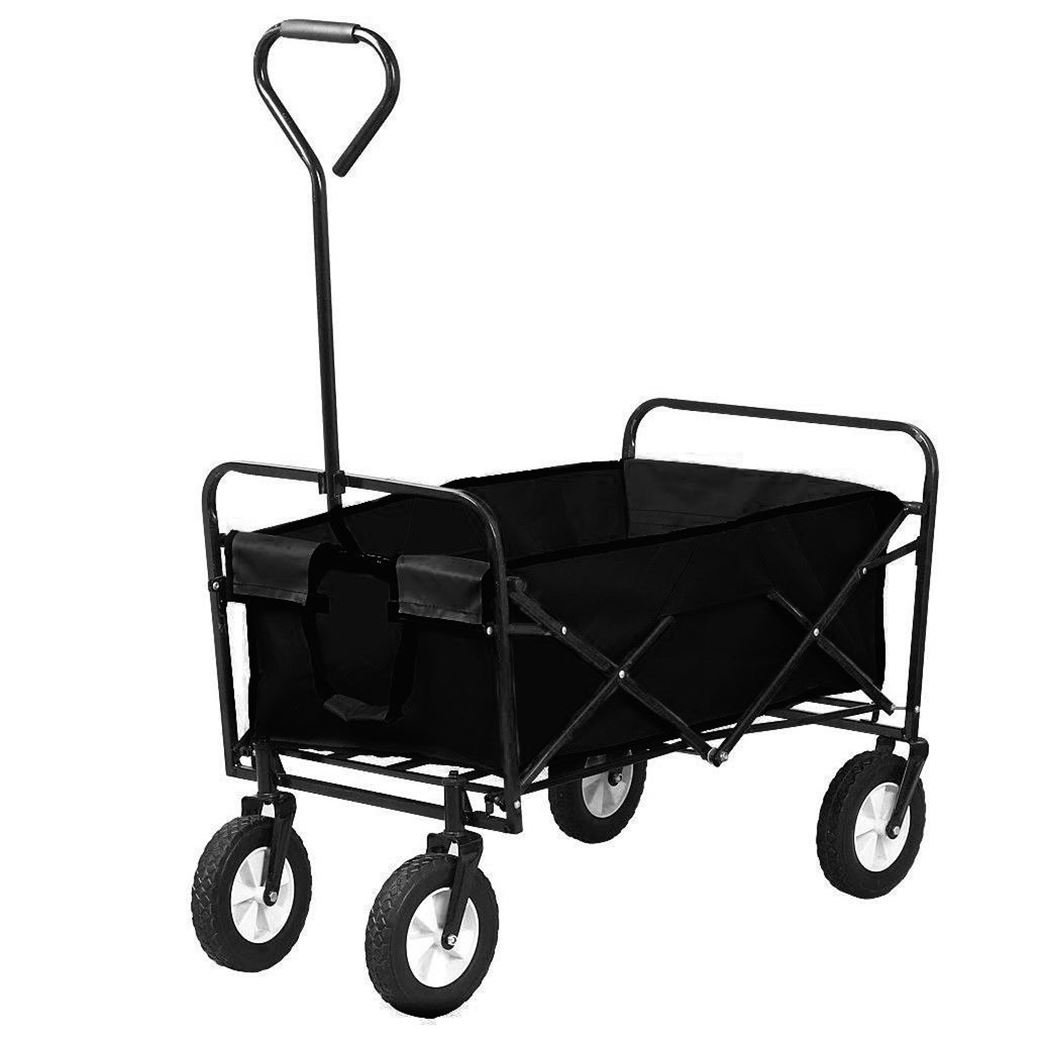 Oypla Black Heavy Duty Foldable Garden Trolley Folding Cart Wagon Truck Wheelbarrow 4034OYP