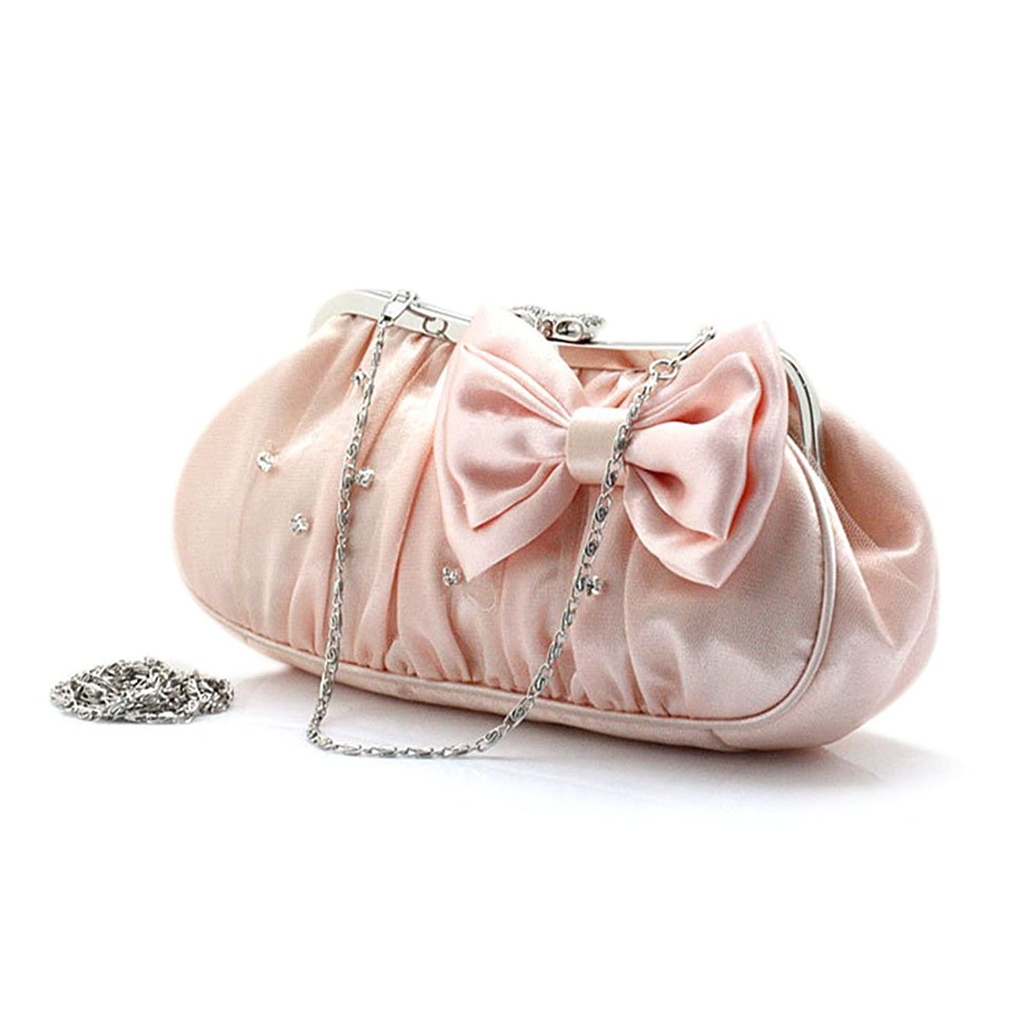 TopTie Satin Evening Bag with Gauze Cover, Cute Bow Clutch