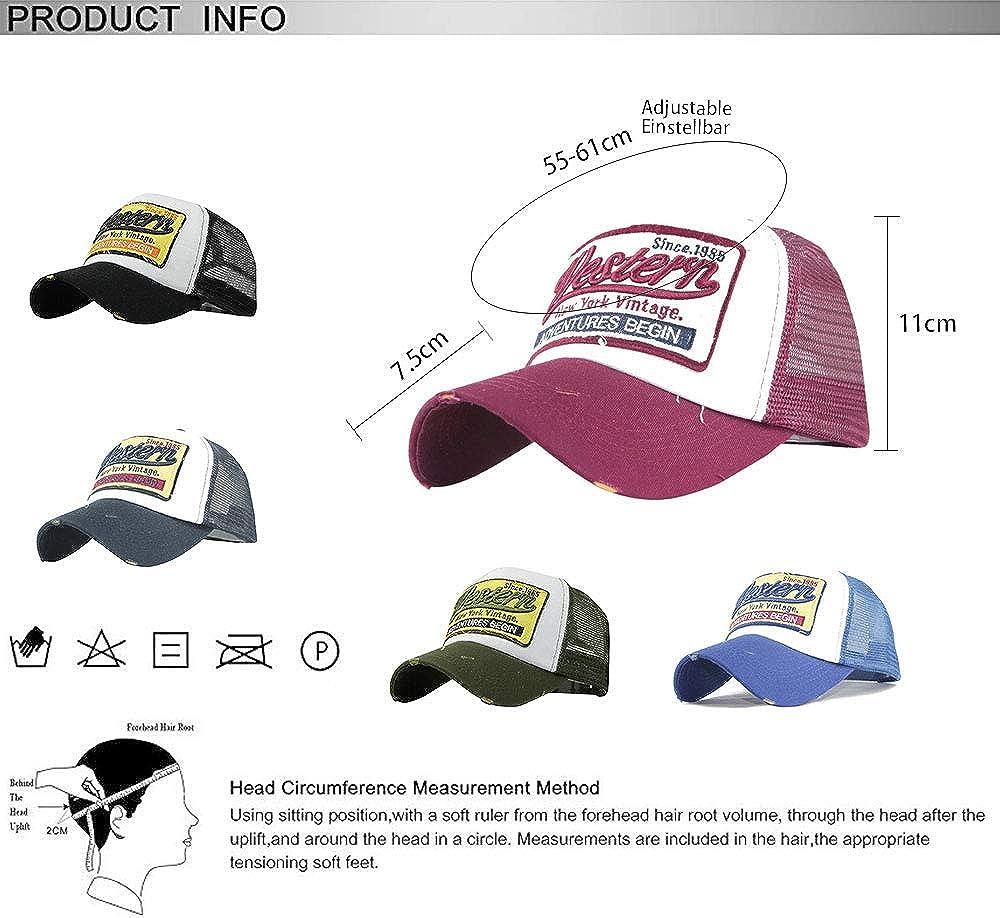 CheChury Casquette de Baseball Vintage Unisex de Mode Baseball Cap Mesh Snapback Chapeau de Hip-hop Sport Casquette avec Visiere Retro Trucker Hat avec Visi/ère