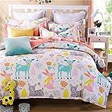 TheFit Paisley Textile Bedding for Adult U793 Pastel Little Deer and Rabbit Duvet Cover Set 100% Cotton, Twin Queen King Set, 3-4 Pieces (Queen)