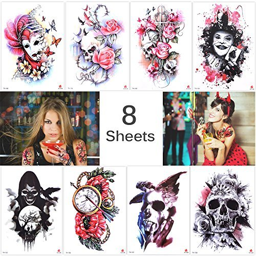 Lady Up 8 Sheets Large Temporary Tattoos Halloween Tattoo Party Pack for Women&Girls&Men ()