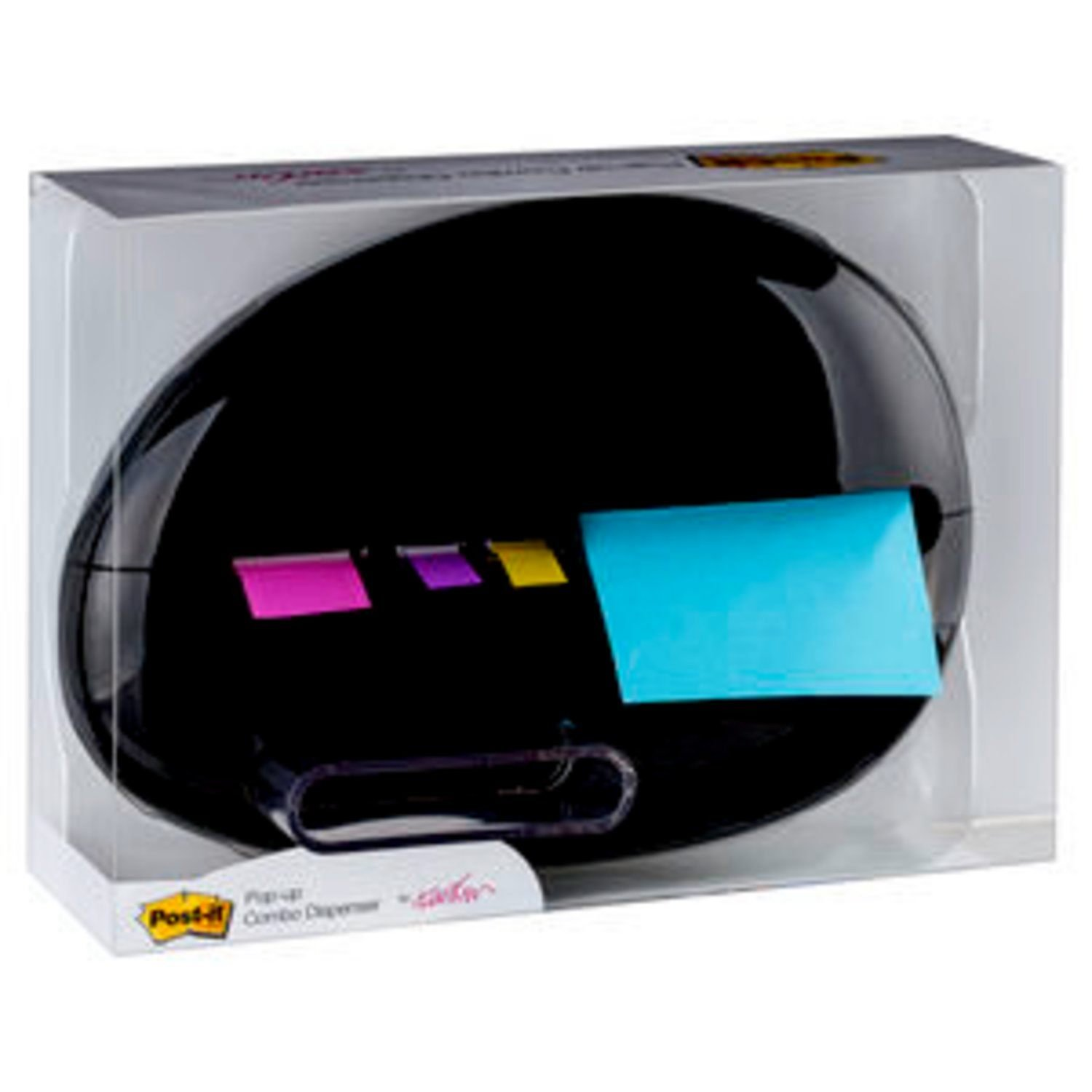 Post-it Pop-up Notes Dispenser for 3 in x 3 in Notes and Assorted Flags, Pebble Collection by Karim (PBL100)