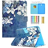 Galaxy Tab A 8.0 inch Case,LittleMax(TM) Ultra Slim Lightweight Thin PU Leather Stand Flip Case Cover Auto Sleep/Wake Samsung Galaxy Tab A 8.0'' SM-T350-02 White Floral