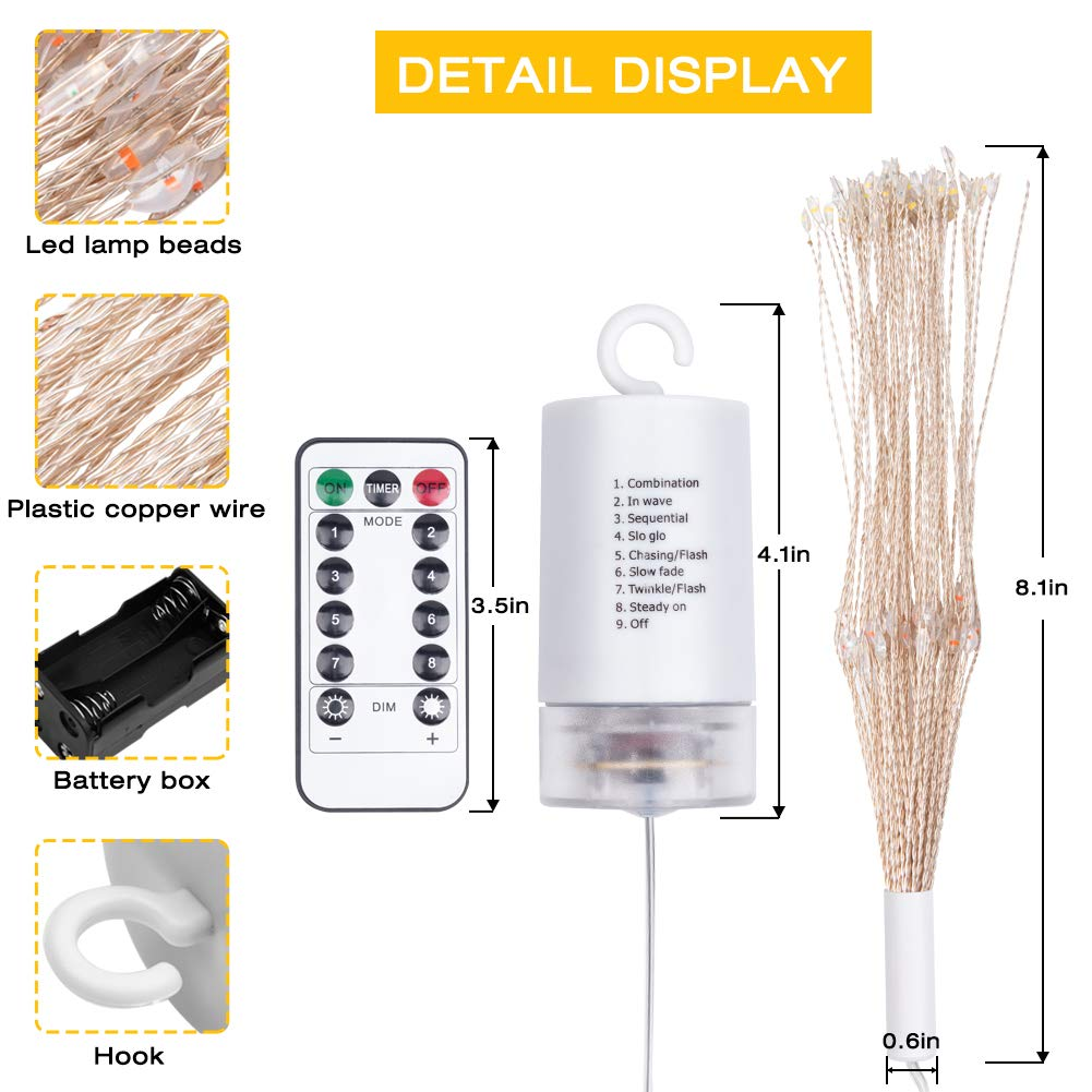 Decorative Lights Christmas LED Light Hanging Fairy Lights 2 Pack Waterproof 8 Modes 120 LED String Lights Starry Lights with Remote Timer Outdoor Indoor Lighting (Multi 2PCS)