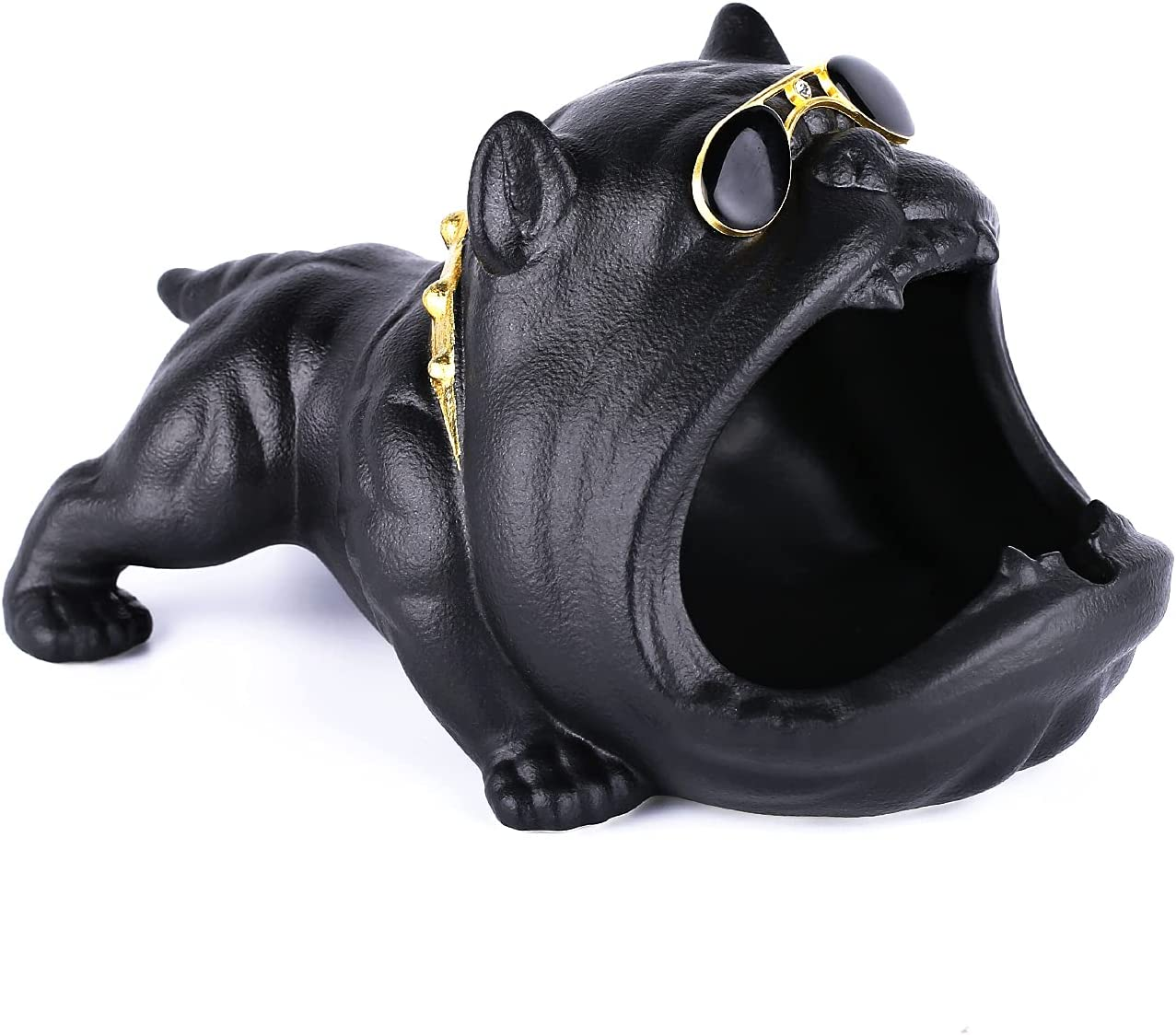 Roaring hippo,ceramic ashtray,cute cartoon dog creative ashtray (black),desktop ashtray for indoor/outdoor use,office and home decorations,are all great choices for holiday gifts.