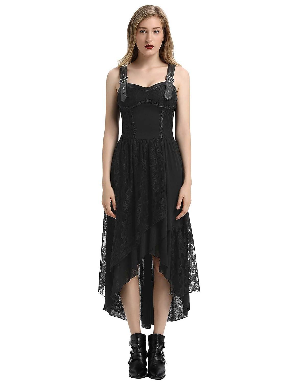 Steampunk Dresses | Women & Girl Costumes Women Steampunk Gothic Victorian Long Dress Sleeveless Irregular Lace Dresses $45.99 AT vintagedancer.com