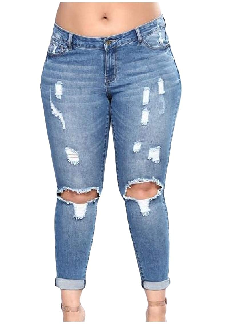 Coolred-Women High Rise Silm Fit Stretch Holes Plus Size Jeans Pencil Pants