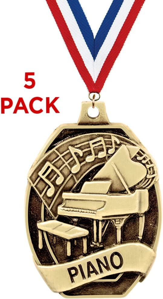 Crown Awards Piano Medals-2 and 5 Per Pack-Great for Education Talent Shows Scholastic Music Singing Pageants