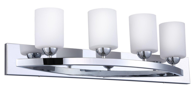 Cloudybay cb17002 ch vanity light fixture 4 bulb wall sconce bathroom lighting with opal glass shade ul listed chrome finish amazon com