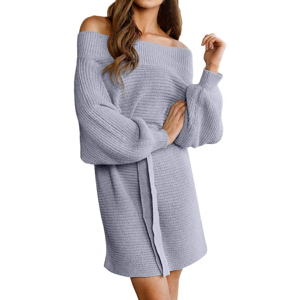 AMUSTER Damen Elegant Schulterfrei Langarm Lose PulloverKleid Strickkleid Sweater Oberteile Oversized Sweatshirt Tops Lang mit Gü rtel