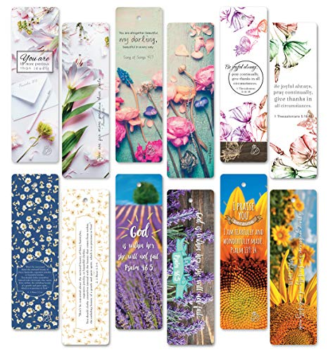 ON Sales! 60 pcs Christian Bible Verses Flower Bookmarks. Free Beauty EBOOK. Encouraging, Inspiration, Unique Design Bookmark. (Magnetic Flower Bookmarks)