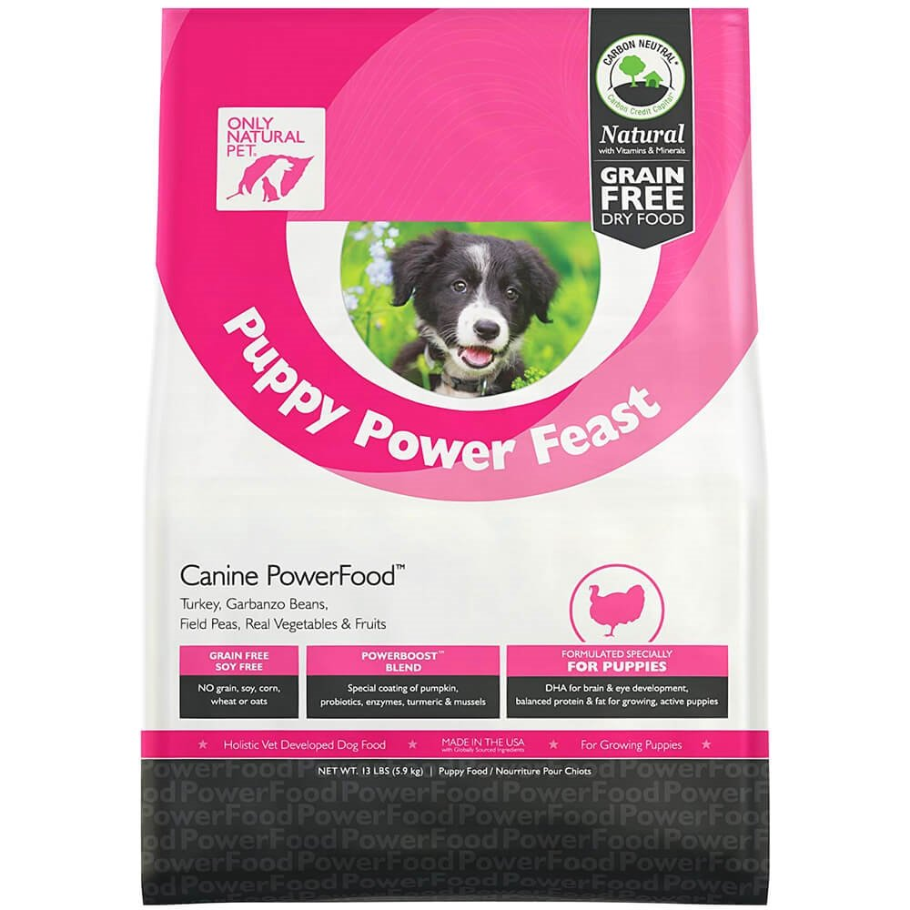 Only Natural Pet Dry Dog Food Puppy Power Feast Canine PowerFood - Grain Free, Naturally Paleo Friendly Formula - Turkey & Chicken Blend - 13 lb Bag