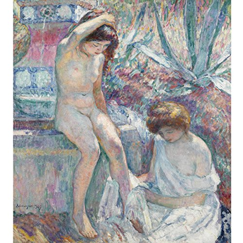 Henri Lebasque - Mrs Lebasque and Martha at The Fountain, Size 20x24 inch, Gallery Wrapped Canvas Art Print Wall décor