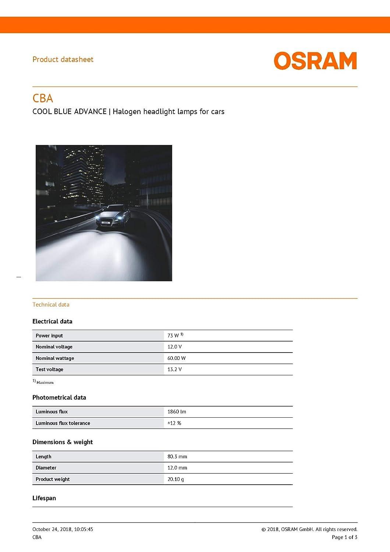 OSRAM 2x BOMBILLAS COCHE HB3 12V 60W P20d COOL ADVANCE 69005CBA BLANCO 5000K EFECTO XENON