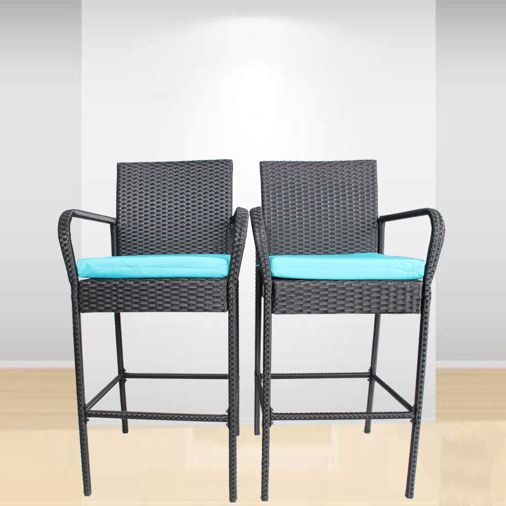 Outime Patio Bar Stools Furniture Black Garden Rattan Chair Cushioned Bar Set Dining Chair(Turquoise Cushions,Set of 2