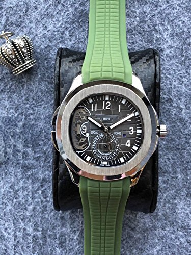 Luxury Brand Stainless Steel Silver Color Green Rubber Skeleton Automatic (self-Wind) Aqua Traveller Watch Watches