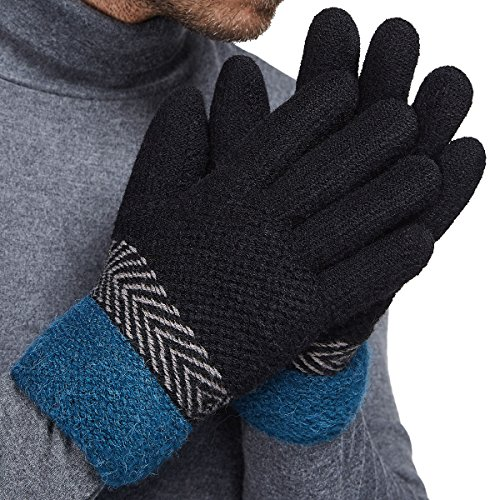 Warm Winter Gloves (LETHMIK Thick Winter Knit Gloves Mens&Womens Warm Fleece Lined Unique Knitted Gloves Black)
