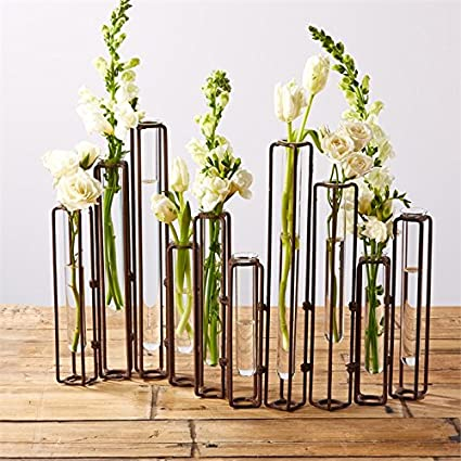 Tozai Lavoisier Set of 10 Hinged Flower Vases with Antiqued Rusted Finish  sc 1 st  Amazon.com & Amazon.com: Tozai Lavoisier Set of 10 Hinged Flower Vases with ...